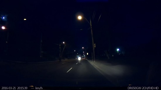Blackvue DR650 Video Screenshot - Driving down Toronto in Very Dark Conditions