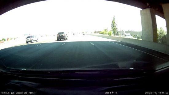 Screenshot of Viofo's A119 going under a bridge