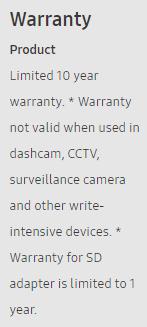 Samsung EVO Plus Warranty Fine Print