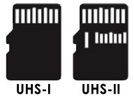 UHS-I and UHS-II SD Card Pins